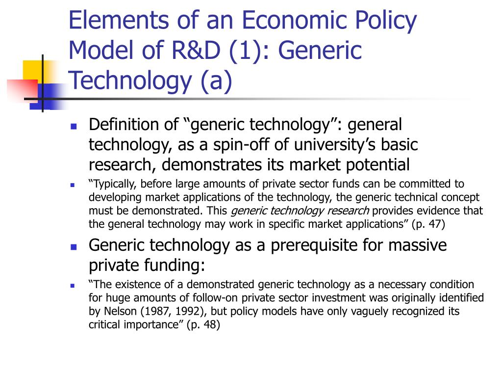 Elements of an Economic Policy Model of R&D (1): Generic Technology (a)