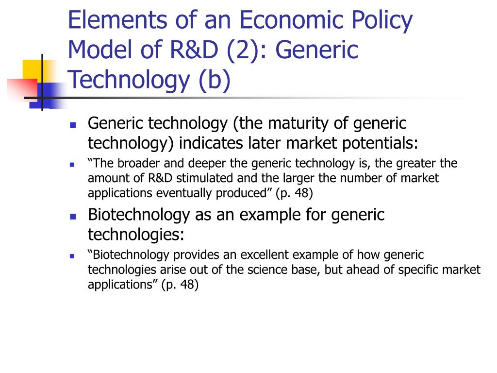 Elements of an Economic Policy Model of R&D (2): Generic Technology (b)