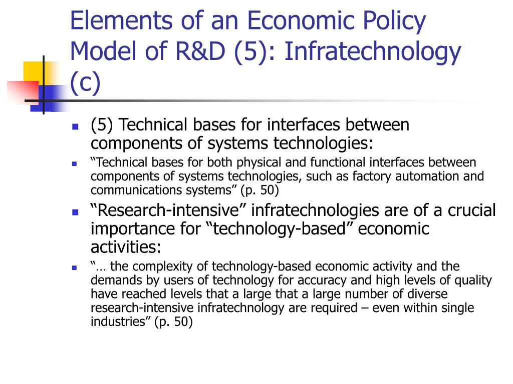 Elements of an Economic Policy Model of R&D (5): Infratechnology (c)