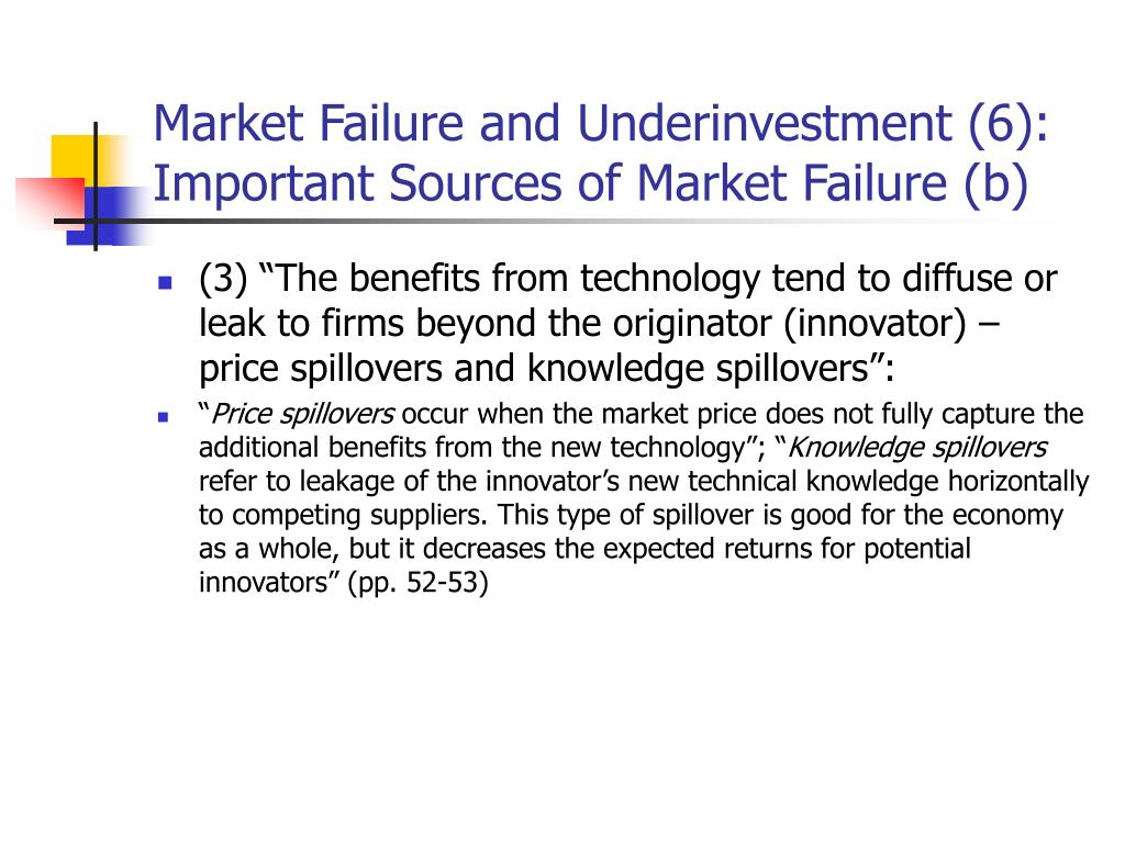 Market Failure and Underinvestment (6): Important Sources of Market Failure (b)