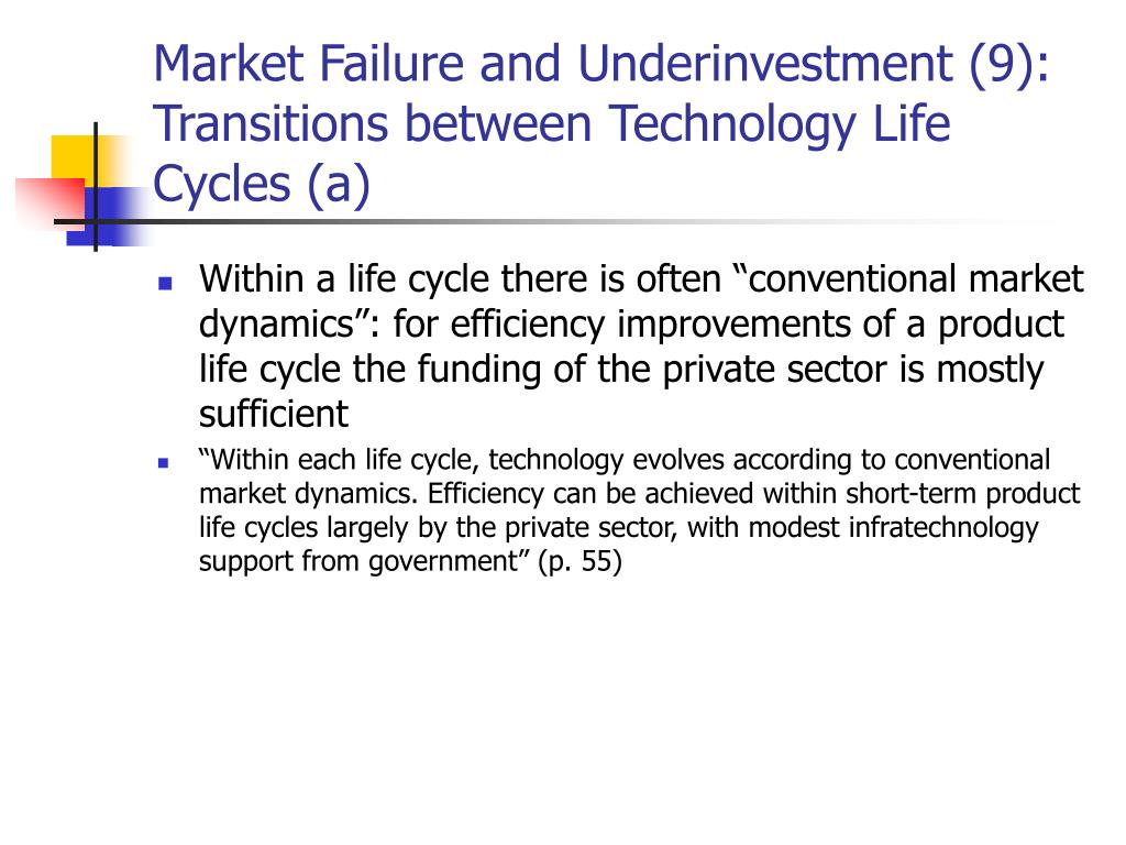 Market Failure and Underinvestment (9): Transitions between Technology Life Cycles (a)