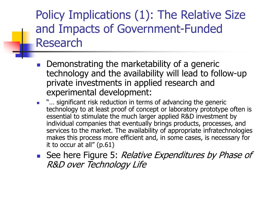 Policy Implications (1): The Relative Size and Impacts of Government-Funded Research