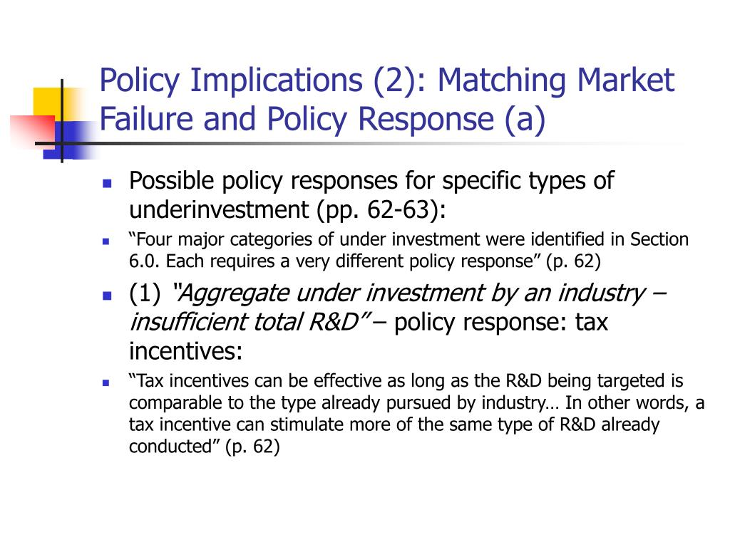 Policy Implications (2): Matching Market Failure and Policy Response (a)