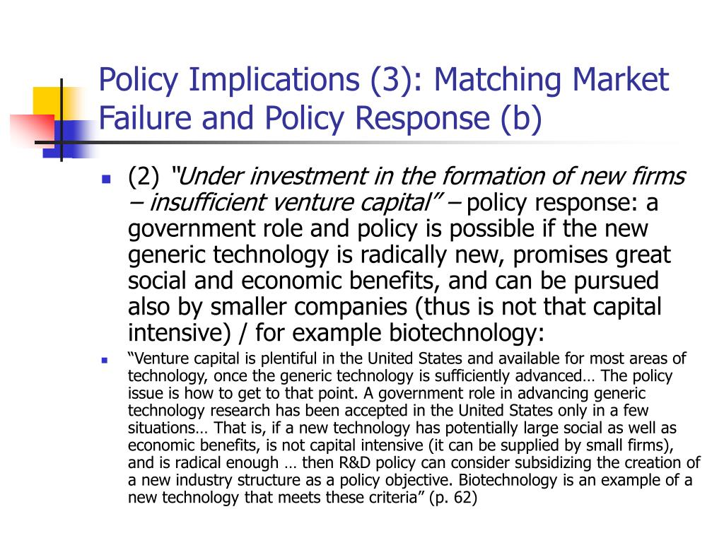 Policy Implications (3): Matching Market Failure and Policy Response (b)