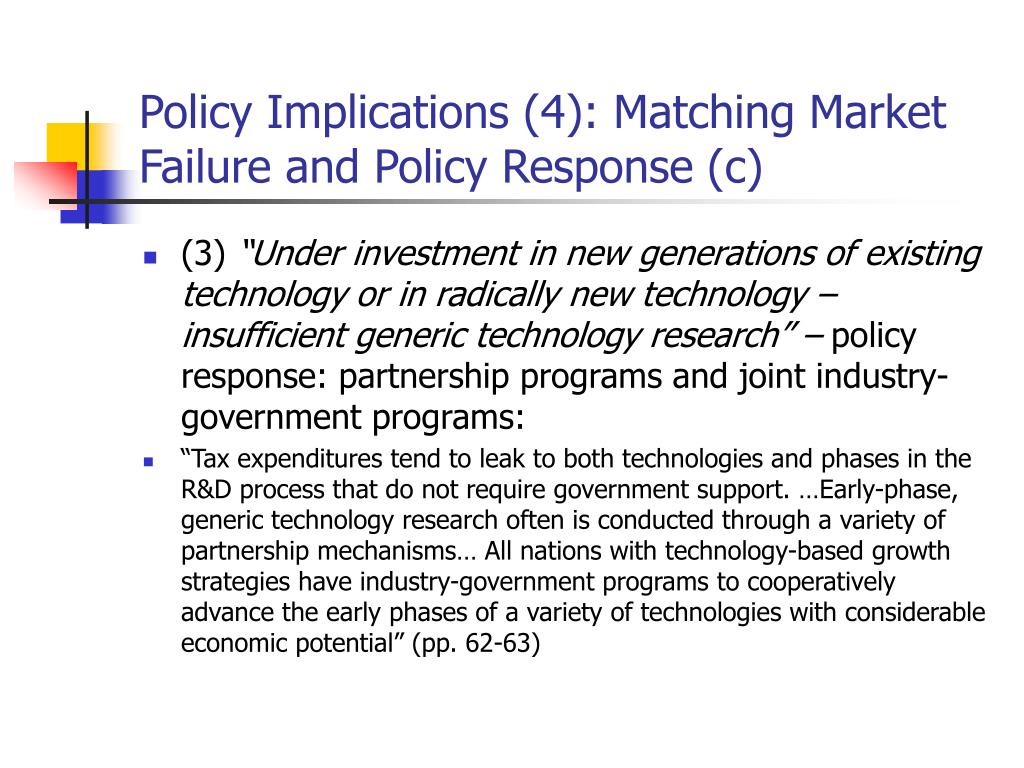 Policy Implications (4): Matching Market Failure and Policy Response (c)