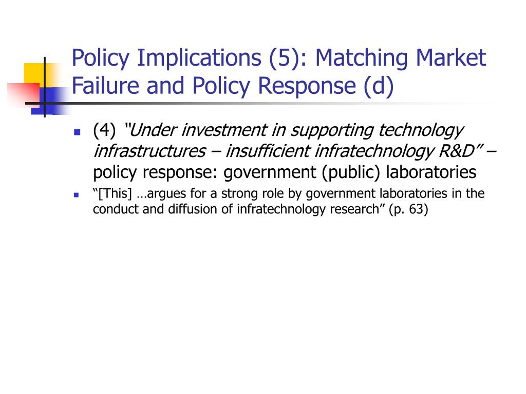 Policy Implications (5): Matching Market Failure and Policy Response (d)