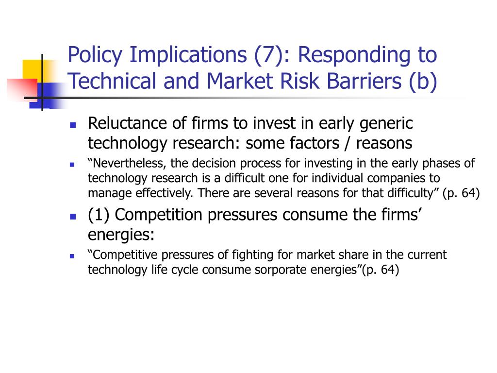 Policy Implications (7): Responding to Technical and Market Risk Barriers (b)