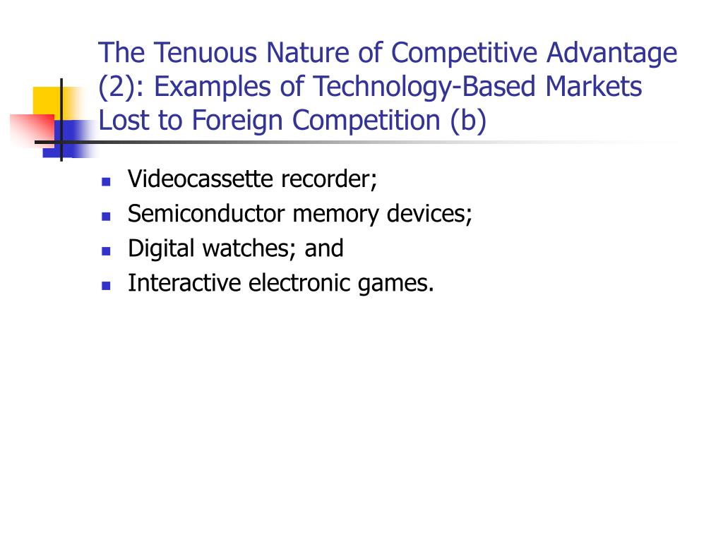 The Tenuous Nature of Competitive Advantage (2): Examples of Technology-Based Markets Lost to Foreign Competition (b)