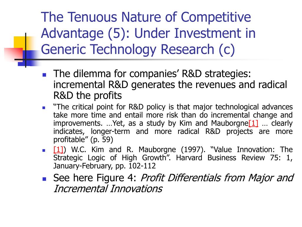 The Tenuous Nature of Competitive Advantage (5): Under Investment in Generic Technology Research (c)