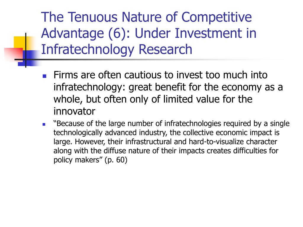 The Tenuous Nature of Competitive Advantage (6): Under Investment in Infratechnology Research