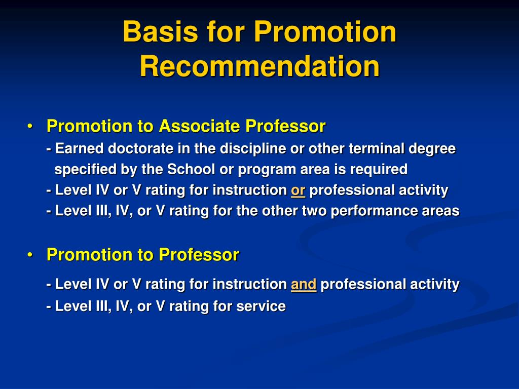 Basis for Promotion Recommendation
