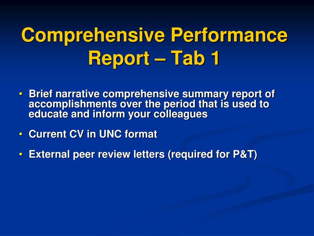 Comprehensive Performance Report – Tab 1