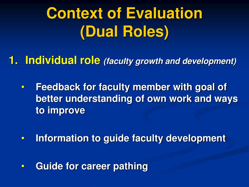 Context of Evaluation