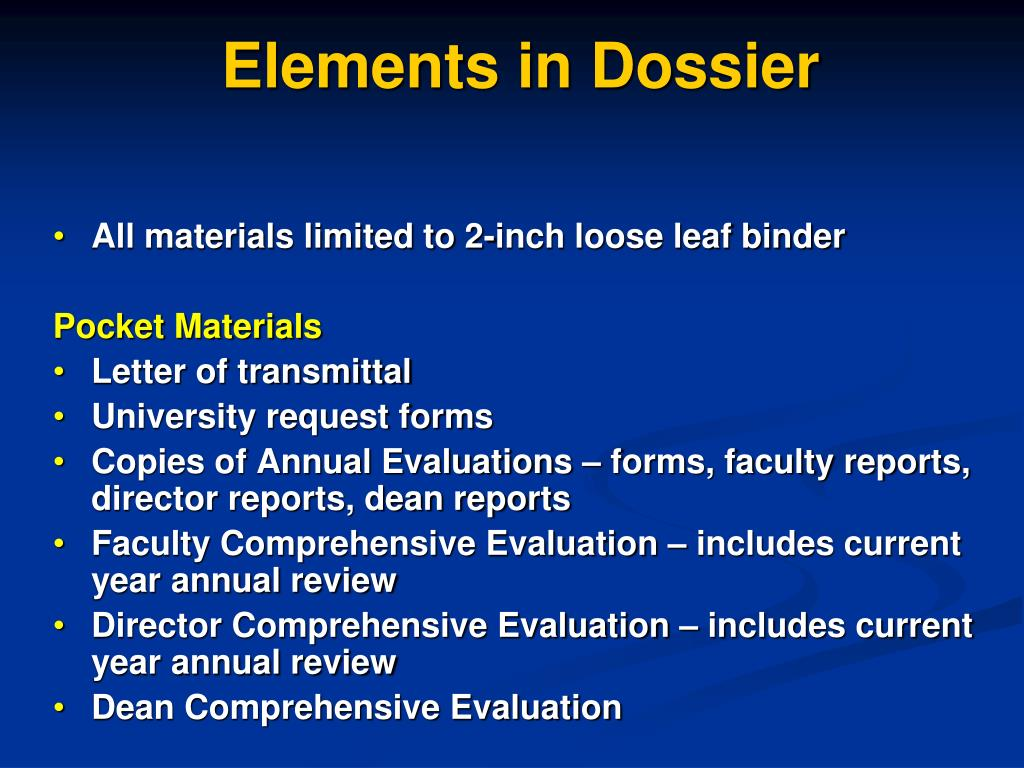 Elements in Dossier