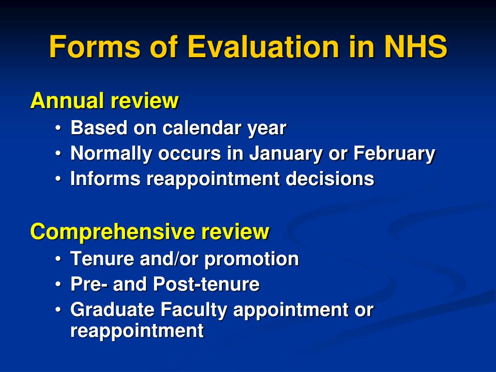 Forms of Evaluation in NHS