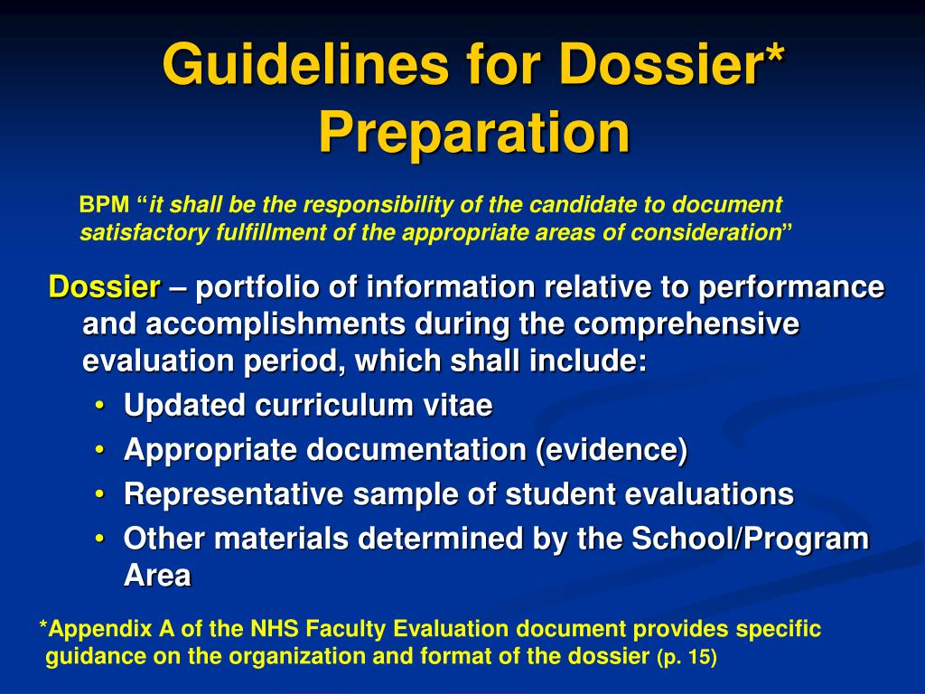 Guidelines for Dossier