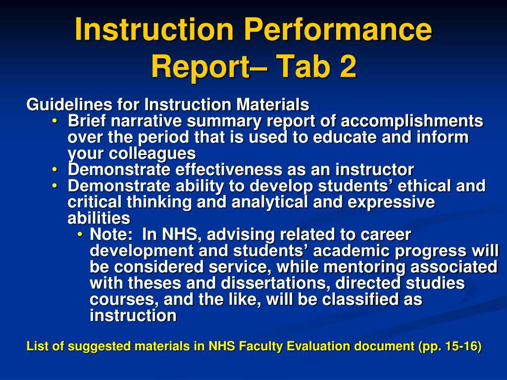 Instruction Performance Report– Tab 2
