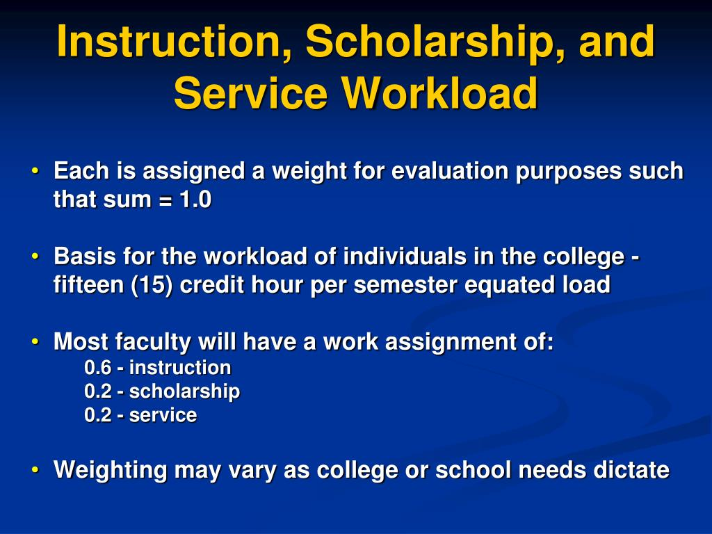 Instruction, Scholarship, and Service Workload