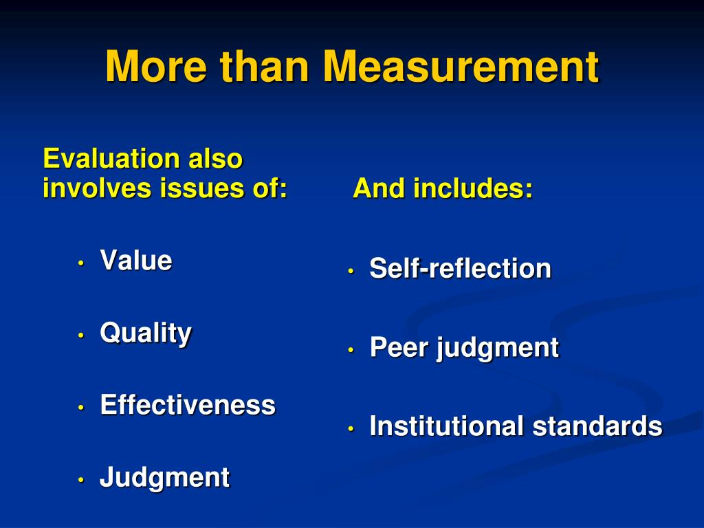 Evaluation also involves issues of: