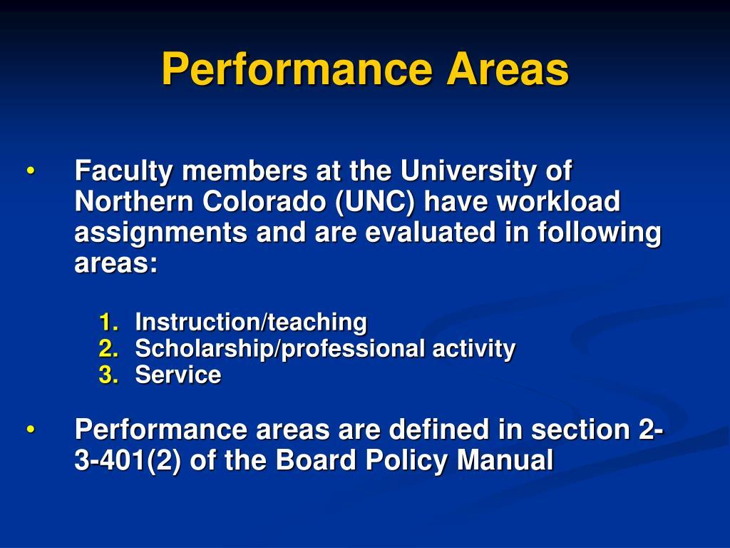 Performance Areas