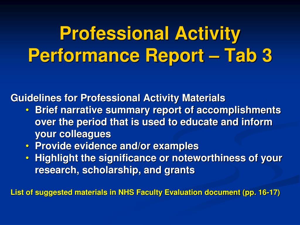 Professional Activity Performance Report – Tab 3