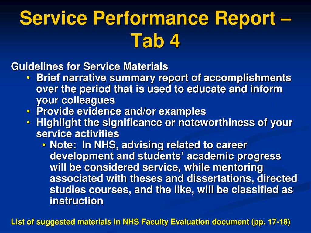Service Performance Report – Tab 4