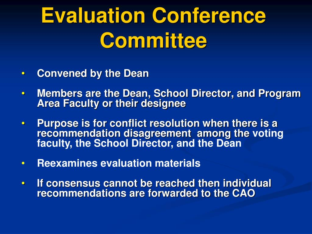 Evaluation Conference Committee