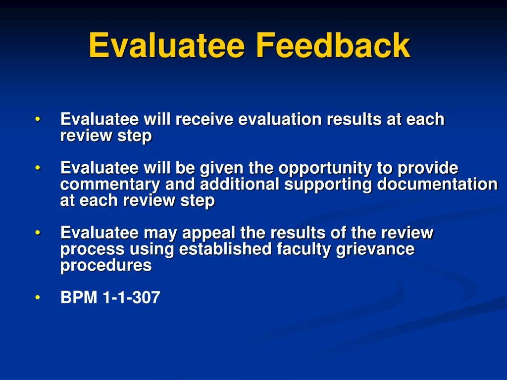 Evaluatee Feedback