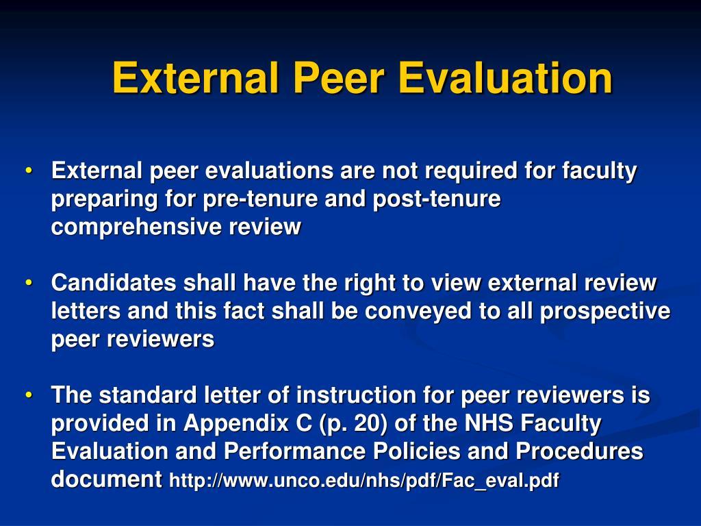 External Peer Evaluation