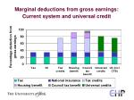 marginal deductions from gross earnings current system and universal credit