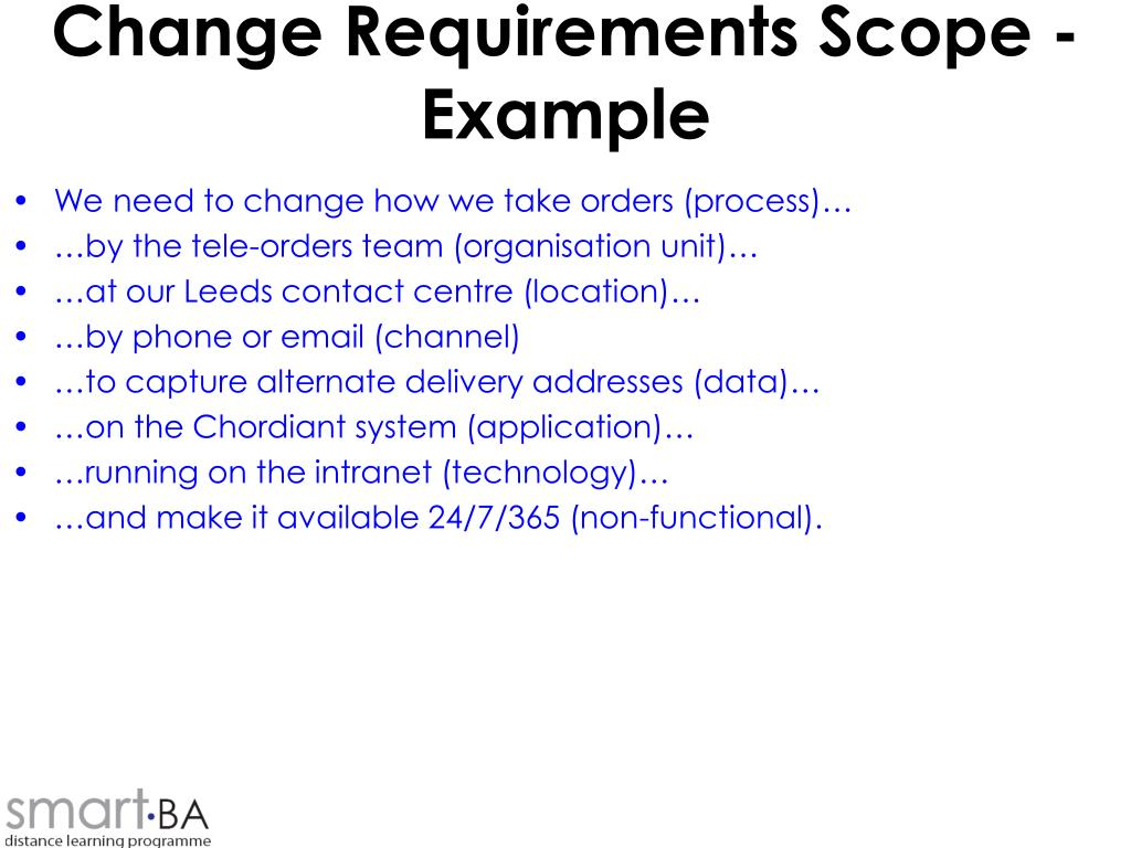 Change Requirements Scope - Example