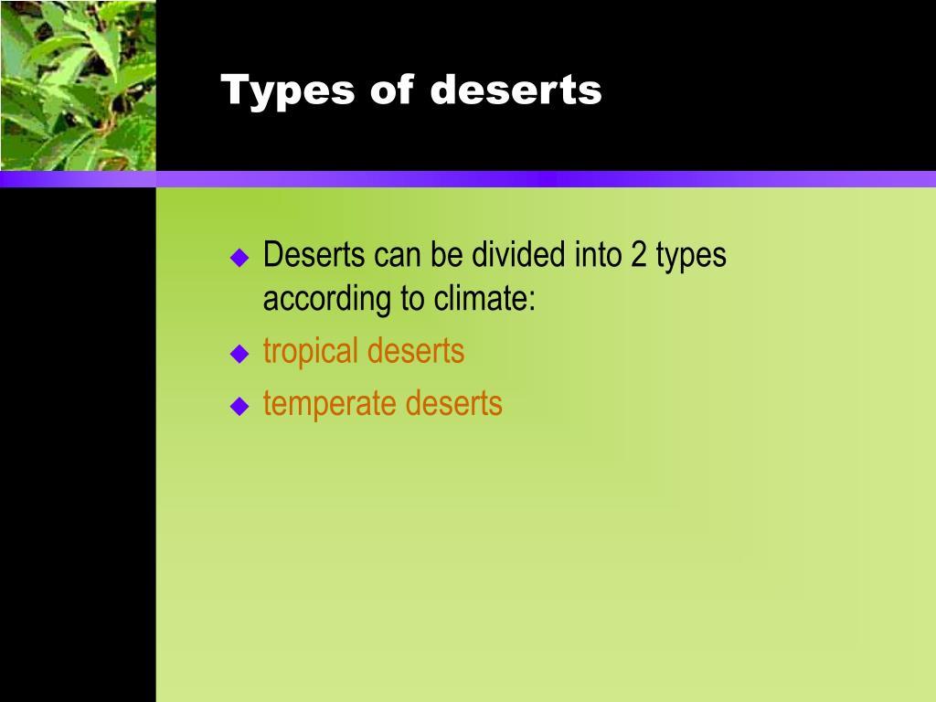 Types of deserts