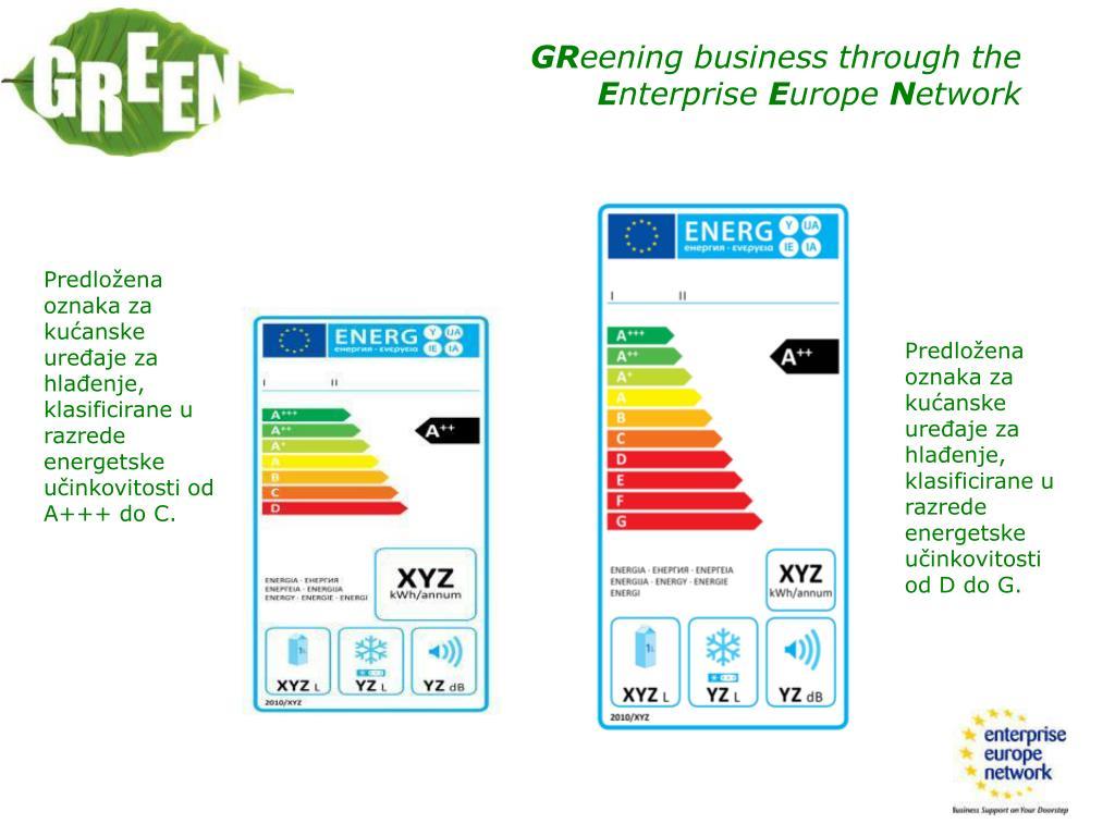 Predložena oznaka za kućanske uređaje za hlađenje, klasificirane u razrede energetske učinkovitosti od A+++ do C.