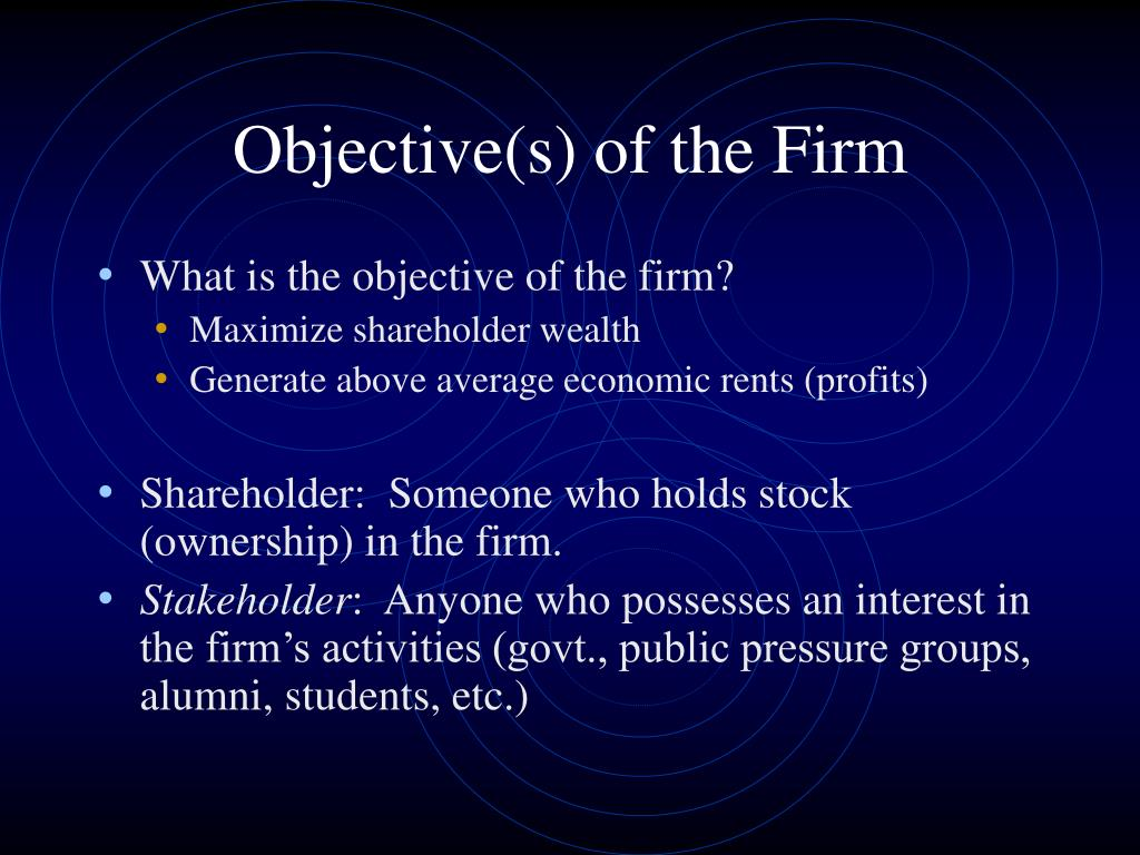 Objective(s) of the Firm