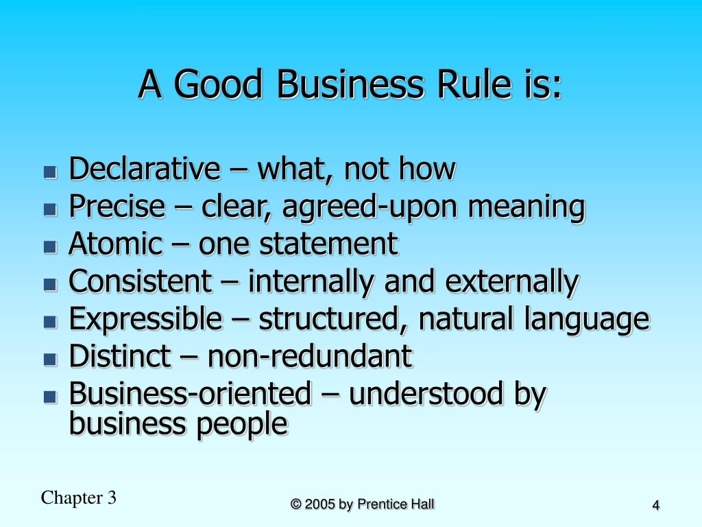 A Good Business Rule is: