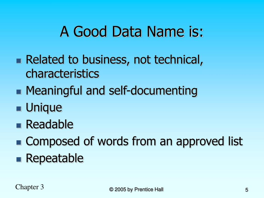 A Good Data Name is: