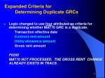 expanded criteria for determining duplicate grcs17