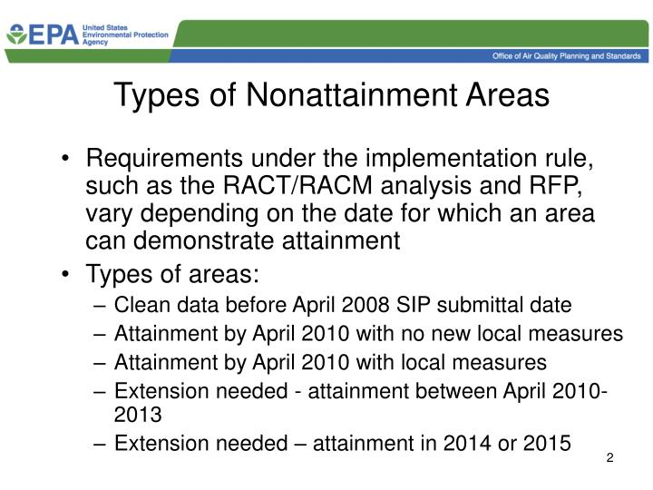 Types of nonattainment areas
