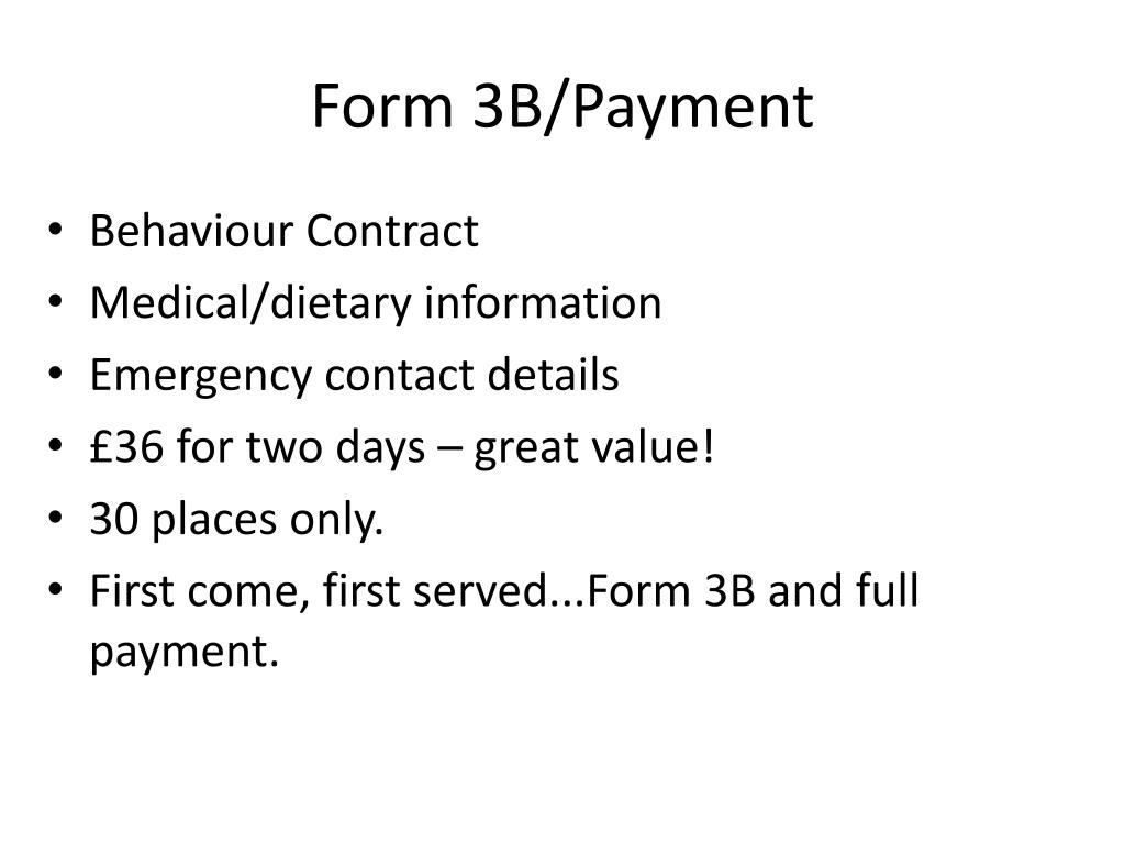 Form 3B/Payment