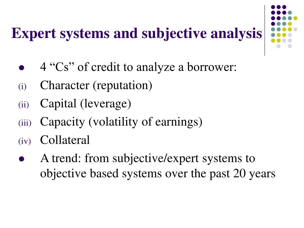 Expert systems and subjective analysis