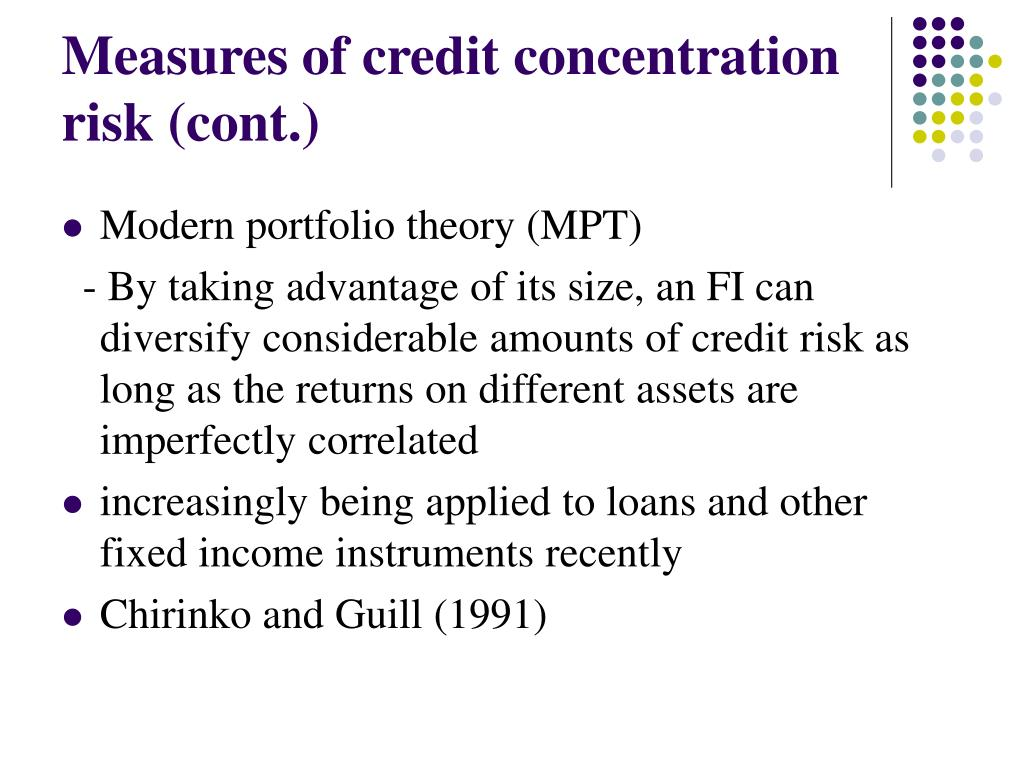 Measures of credit concentration risk (cont.)