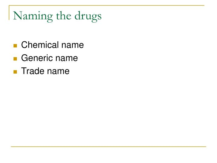 Naming the drugs