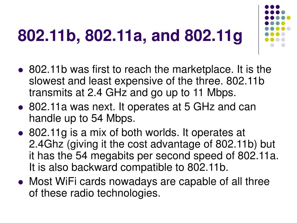 802.11b, 802.11a, and 802.11g