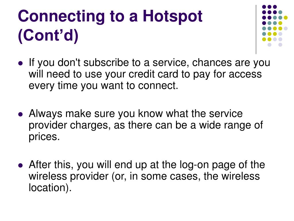 Connecting to a Hotspot (Cont'd)