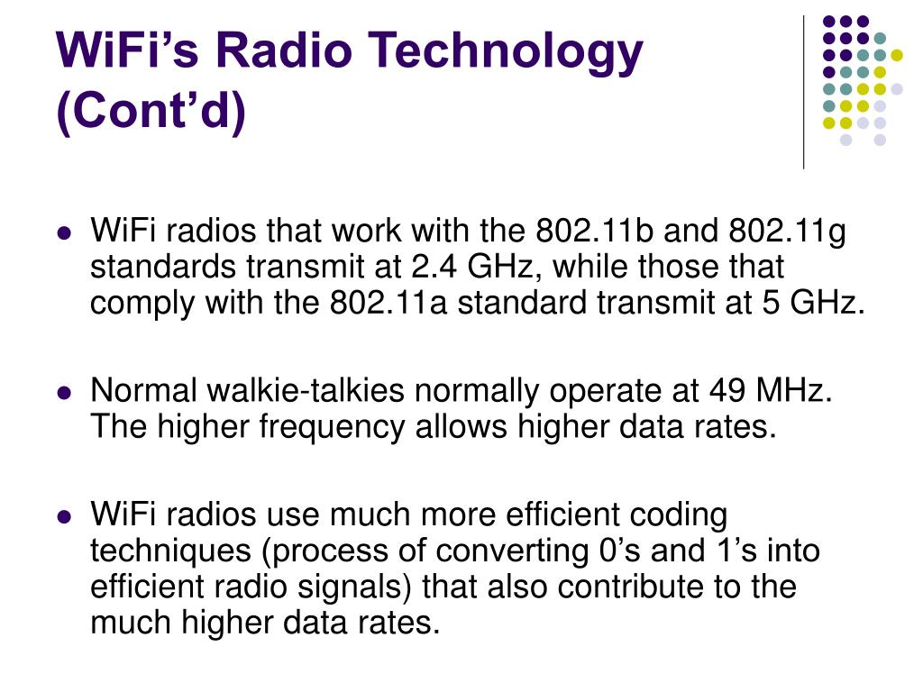 WiFi's Radio Technology (Cont'd)