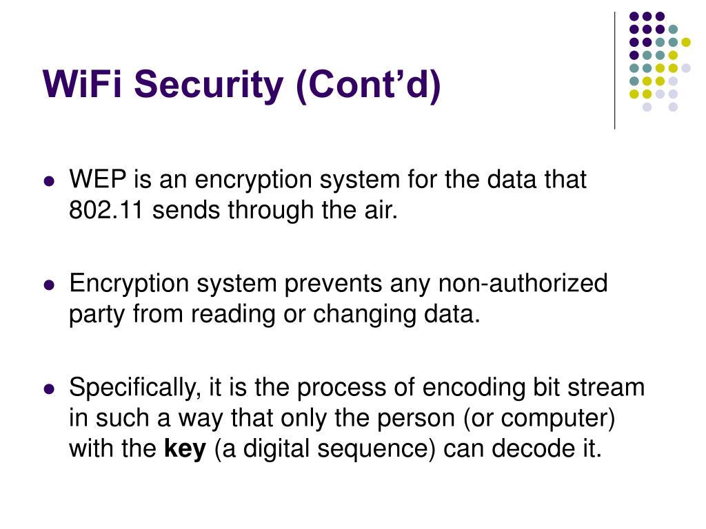 WiFi Security (Cont'd)