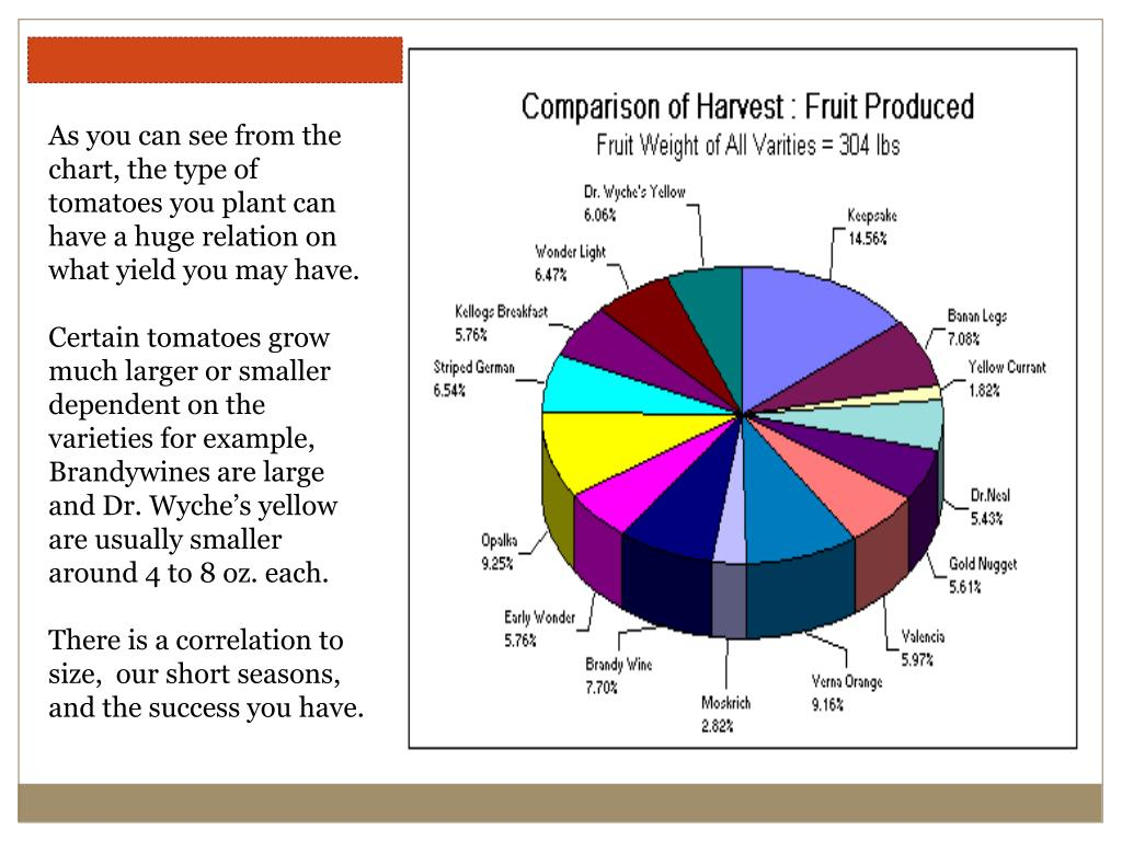 As you can see from the chart, the type of tomatoes you plant can have a huge relation on what yield you may have.