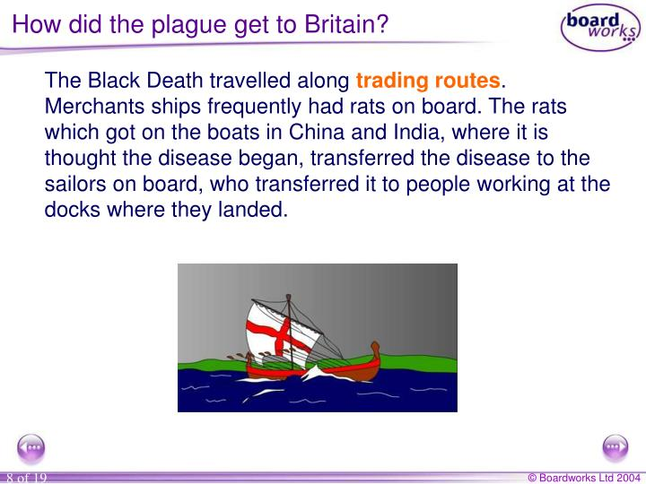 How did the plague get to Britain?