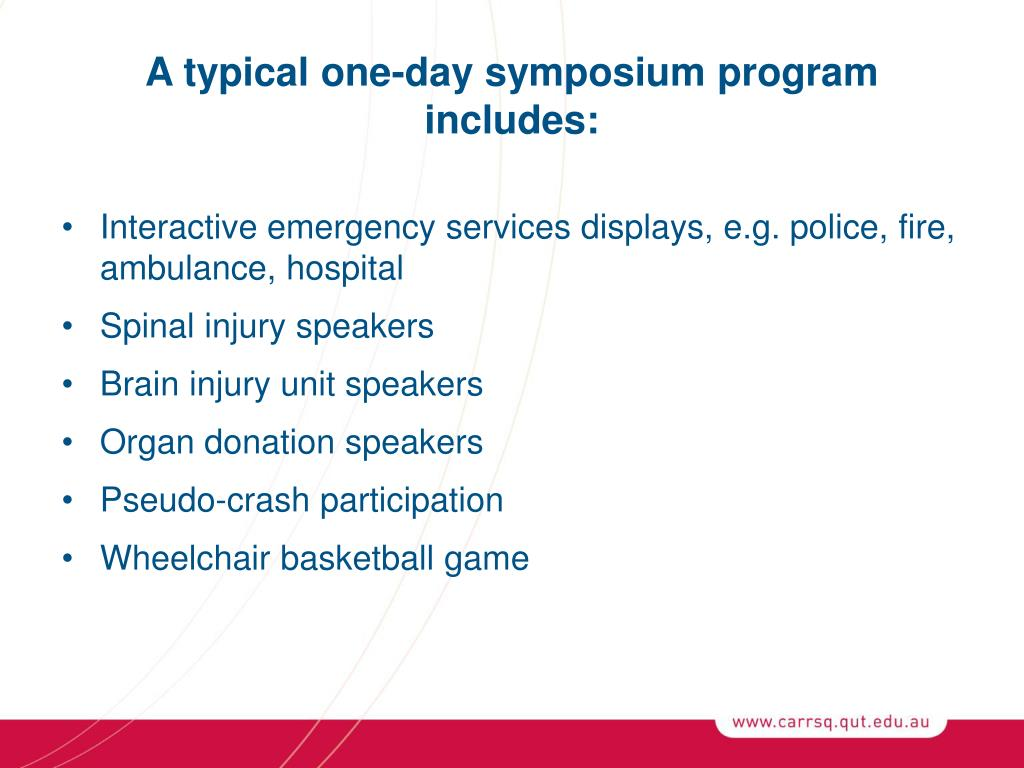 A typical one-day symposium program includes: