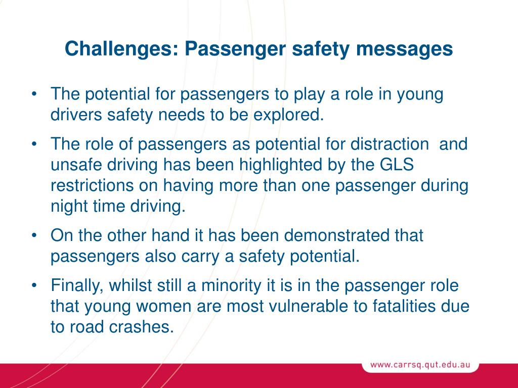 Challenges: Passenger safety messages